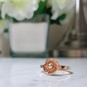 Chanel Style Camellia Flower Ring